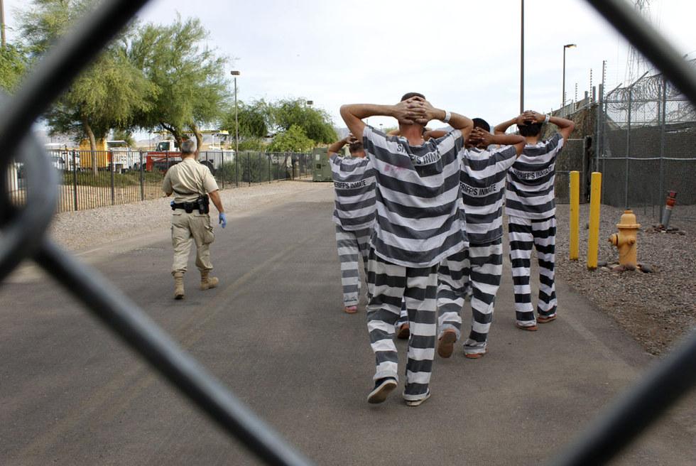 Imagen tomada ayer de la cárcel para inmigrantes irregulares montada en Phoenix, Arizona, por el  sheriff  Joe Arpaio.