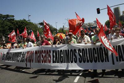 Manifestación de trabajadores de Marsans, el pasado mayo en Madrid.