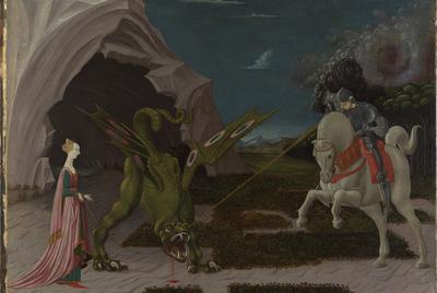 , y  Saint George and the Dragon   (hacia 1470), de Paolo Uccello. La historia que reproduce el cuadro procede de una colección de vidas de santos escrita en el siglo XIII,  The Golden Legend.  Uccello realizó una versión anterior y menos dramática del mismo tema que se encuentra en París.