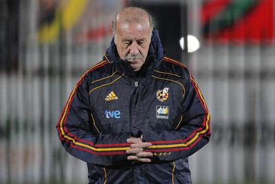 Vicente del Bosque, anoche en Potchefstroom durante la sesión preparatoria de la selección española.