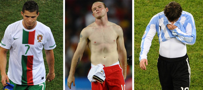 Cristiano Ronaldo, Rooney y Messi se retiran cariacontecidos tras las eliminaciones de sus respectivas selecciones.