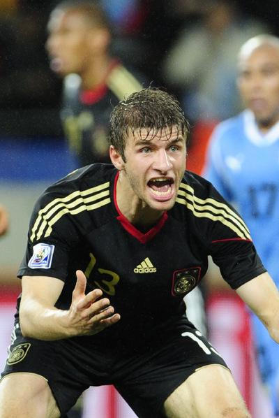 El centrocampista alemán Thomas Müller, durante el partido contra Uruguay.