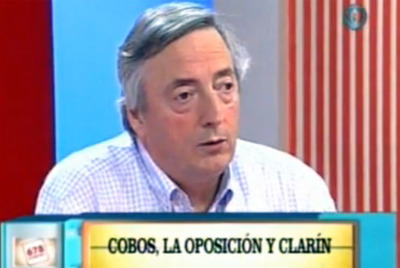 El ex presidente Néstor Kirchner, en el programa  6-7-8 .