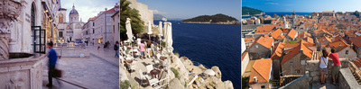 De izquierda a derecha, tres imágenes de la ciudad croata de Dubrovnik: plaza del centro histórico, la terraza del café Buza, sobre el Adriático, y los tejados de la ciudad amurallada.