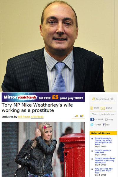 Arriba, el diputado Mike Weatherley. Abajo, Carla Adriana Weatherley, en la web del periódico que descubrió el escándalo.
