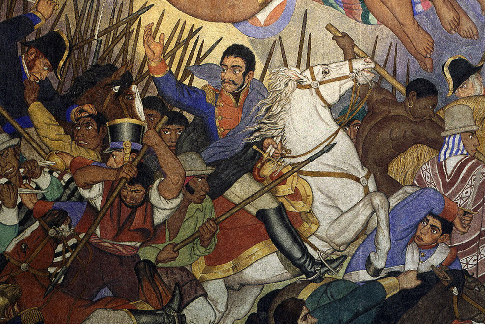 Simón Bolívar en una batalla contra los españoles en el fresco  La epopeya boliviana,  de Fernando Leal.