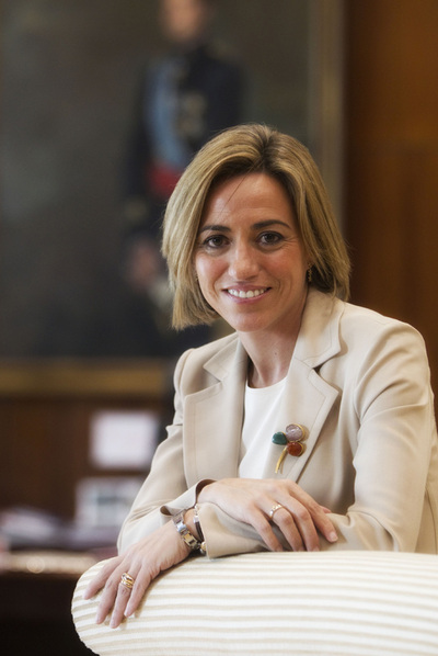 La ministra de Defensa, Carme Chacón, en su despacho oficial el pasado viernes.