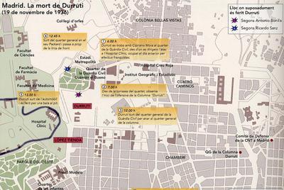 Infografía sobre la muerte de Durruti en noviembre de 1936, del  Atles de la Guerra Civil a Catalunya.