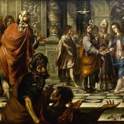 La imposición de la casulla a san Ildefonso (1636), convento de los Descalzos .Lima