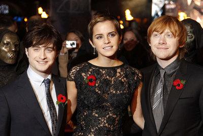 Daniel Radcliffe, Emma Watson y Rupert Grint, en Londres.