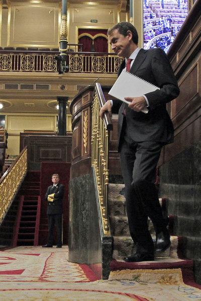 El presidente Zapatero, tras una de sus intervenciones.