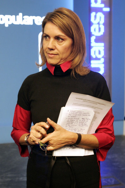 Dolores de Cospedal, ayer, en la rueda de prensa.