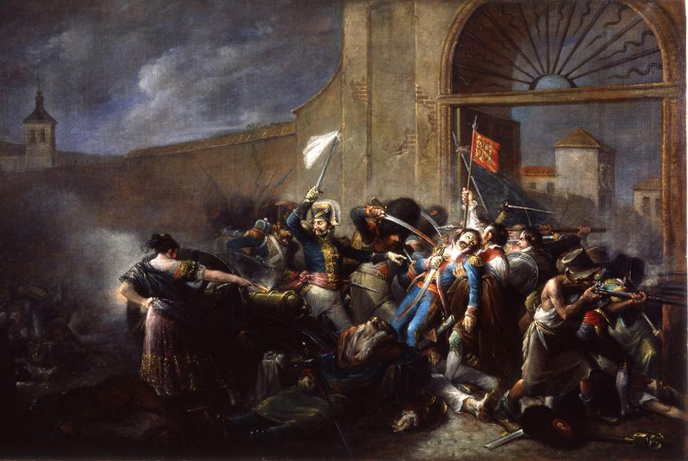 La muerte de Daoíz en el Parque de Artillería de Monteleón  (1835), óleo de Leonardo Alenza y Nieto.