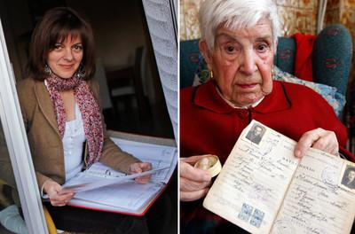 Mar Soriano (izquierda), con los documentos que ha reunido sobre su hermana. Y Julia Manzanal, de 95 años, con la cajita donde guarda un mechón de su hija, que perdió en una cárcel franquista.