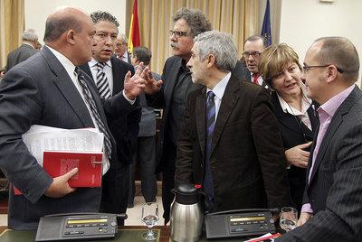 Los miembros de la comisión del Pacto de Toledo, durante la reunión de ayer.