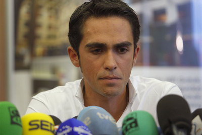 Contador, el día que comunicó su positivo.