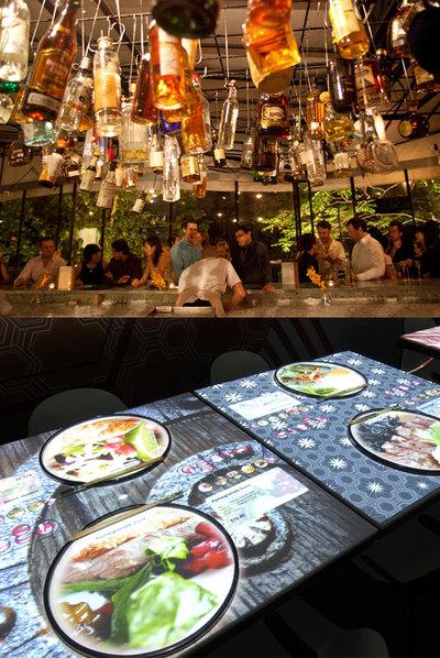 Tippling Club, restaurante coctelería de Singapur. Abajo, mesas interactivas que utilizan el sistema Inamo.