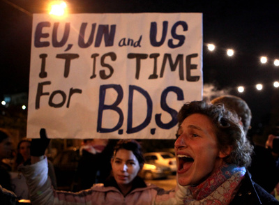 Manifestación en Jerusalén, en noviembre de 2009, exigiendo a la comunidad internacional que tome postura ante los asentamientos en los territorios ocupados.