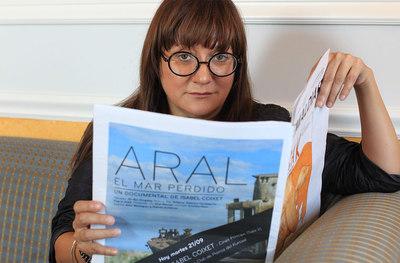 Isabel Coixet en la presentación del documental 'Aral, el mar perdido' en el Festival de Cine de San Sebastián 2010.