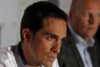 Alberto Contador, en enero, durante una conferencia de prensa sobre su supuesto dopaje.