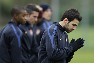 Cesc Fàbregas, ayer en el entrenamiento del Arsenal.