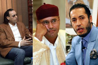 De izquierda a derecha, Aníbal, Saif al Islam y Saadi, tres de los hijos varones del líder libio Muamar el Gadafi.