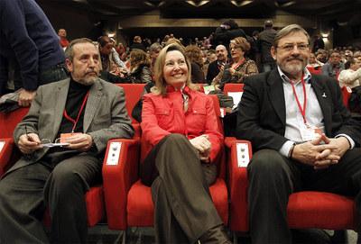 Juan Barranco, Amparo Valcarce y Jaime Lissavetzky, ayer en el comité regional.