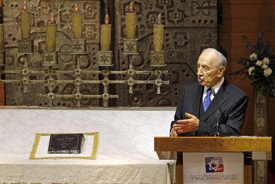 El presidente de Israel, Simon Peres, durante el encuentro con la comunidad judía.