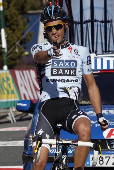 Contador celebra su triunfo de ayer en la Volta a Catalunya.