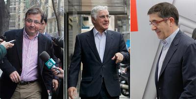 El presidente extremeño, Guillermo Fernández-Vara; el de Castilla-La Mancha, José María Barreda, y Patxi López.