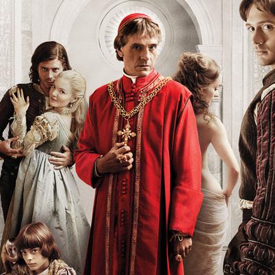 Los protagonistas de la serie  Los Borgia , con Jeremy Irons como Alejandro VI, en el centro.