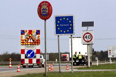 Un punto de control en la frontera danesa.