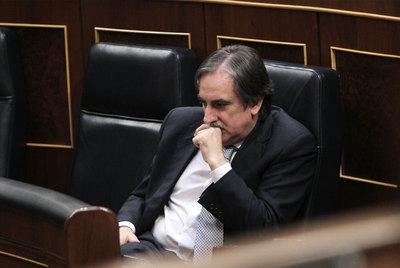 Valeriano Gómez, ayer durante la sesión plenaria del Congreso de los Diputados.