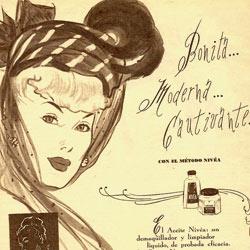 La famosa lata se inventó en 1911, pero pronto empezaron a surgir otros productos. Anuncio de prensa española de 1948 que invita a conocer el método Nivea.