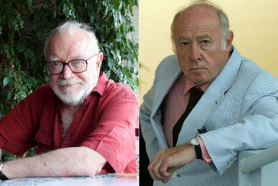 A la izquierda, el editor Mario Muchnik en su casa. A su lado, el pintor Eduardo Arroyo.