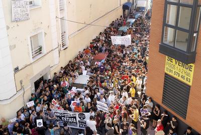 Concentración para evitar un desahucio en el distrito de Tetuán el pasado 15 de junio.