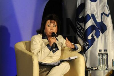 Sandra Torres, en un foro económico en Guatemala.