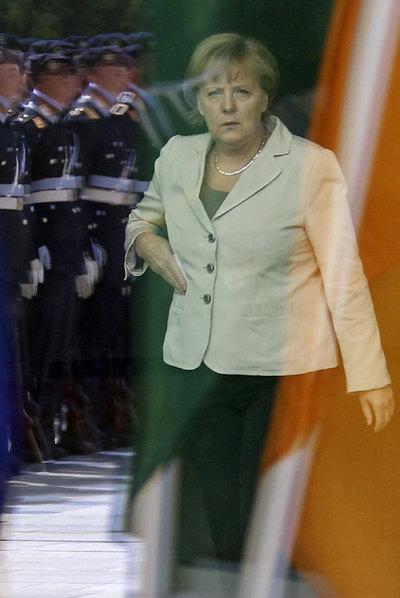 Merkel durante una recepción, ayer en Berlín.