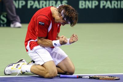 David Ferrer celebra la clasificación de España para semifinales.