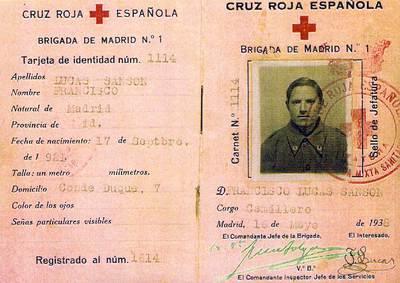 Carnet de camillero de Francisco Lucas Sansón