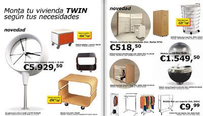 El compromiso medioambiental recorre las distintas fases del proyecto TWINS, como los muebles -presentados con un guiño a IKEA-, encargados a un artesano local.