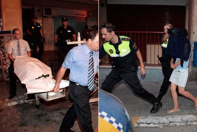 Imagen de la menor asesinada presuntamente a manos de su madre ayer en Alicante. A la derecha, agentes municipales escoltan a la mujer al coche patrulla.