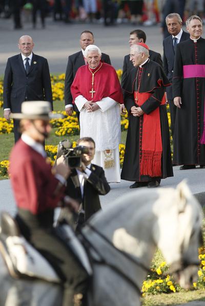 El Papa con Antonio María Rouco Varela, arzobispo de Madrid.
