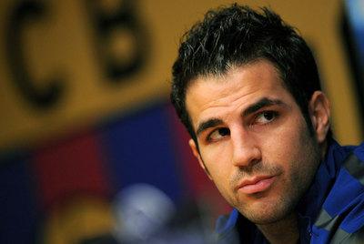 Cesc Fàbregas, en la sala de prensa del Camp Nou.