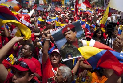 Manifestación a favor del presidente venezolano, Hugo Chávez, en 2011.