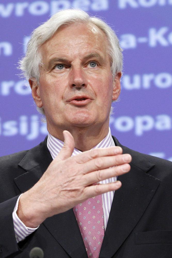 Michel Barnier, comisario europeo de Mercado Interior, en una rueda de prensa en Bruselas.