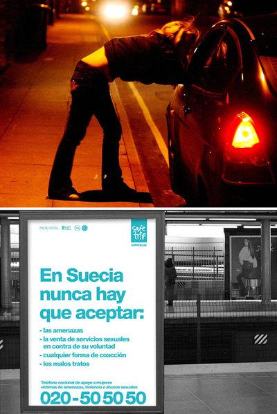 Una prostituta habla con un conductor en una calle de Suecia en 2006. Abajo, imagen de la campaña institucional contra el tráfico de personas.