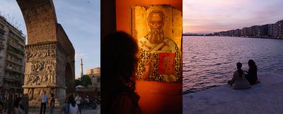 De izquierda a derecha, tres imágenes de Tesalónica: el arco romano de Galerio, una de las piezas del Museo Bizantino y atardecer sobre la gran bahía de la ciudad griega.