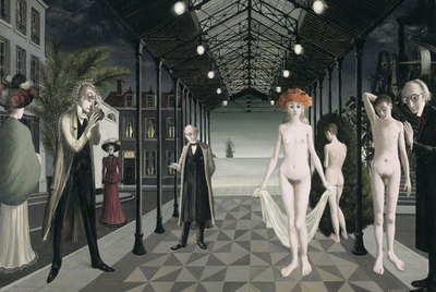Homenaje a Jules Verne  (1971), obra de Paul Delvaux presente en la gran exposición  Locus Solus  sobre la figura de Raymond Roussel.