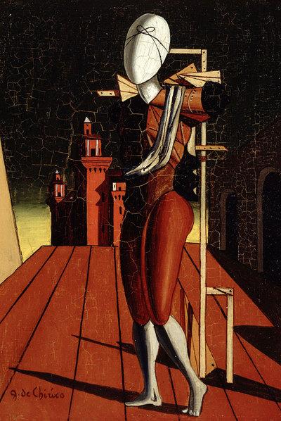 Todo el inquietante mundo de Giorgio de Chirico, resumido en  Andrómaca  (1916), otra pintura de la muestra.